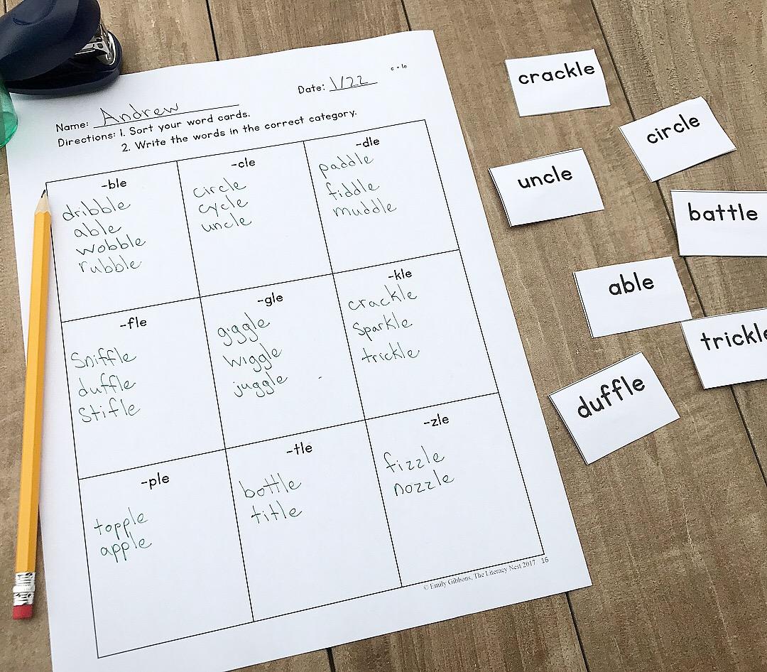 word sorting activities