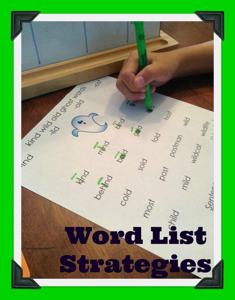 Orton-Gillingham Word List Strategies