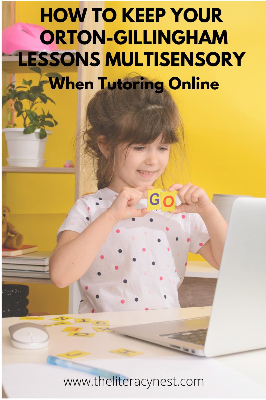 multisensory Orton-Gillingham lessons teaching online